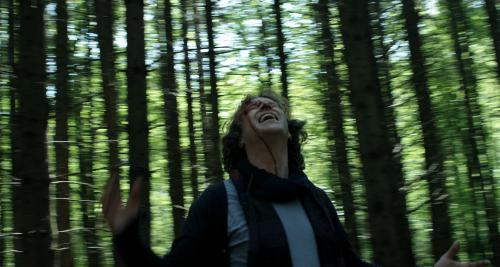 Conor Marren screaming in the woods