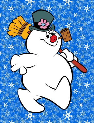 FROSTY THE SNOWMAN WALKING SNOWFLAKE BACKGROUND